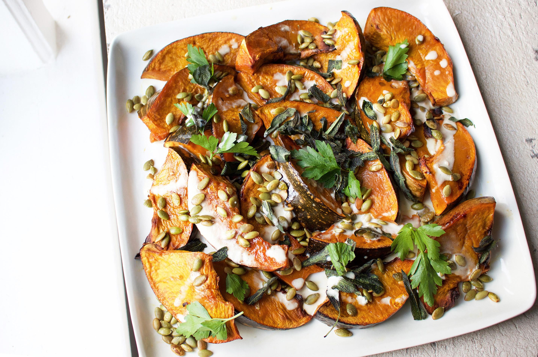 Roast Pumpkin with Crispy Sage & Tahini Dressing - JSHealth